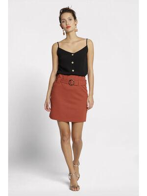 Jupe droite taille haute orange fonce femme