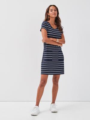 Robe droite manches courtes bleu marine femme