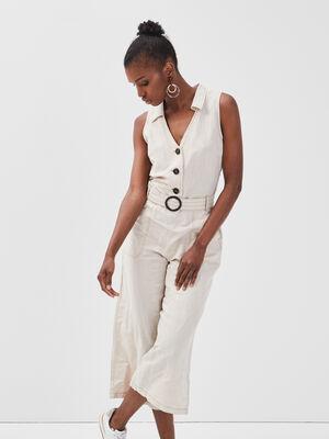 Combinaison pantalon lin beige femme