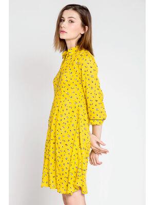 Robe chemise jaune femme