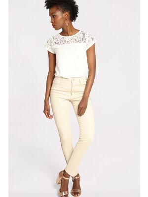 Jeans skinny bande sporty sable femme