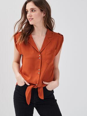 Chemise sans manches orange fonce femme