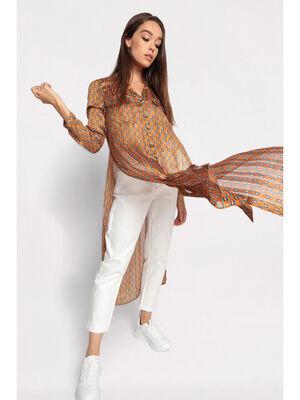 Chemise longue boutonnee camel femme