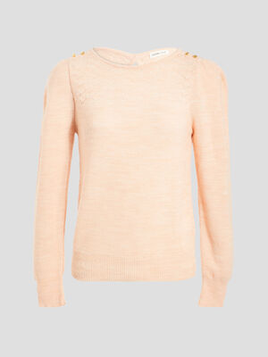 Pull manches longues froncees rose clair femme