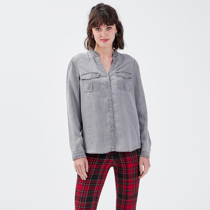 Chemise manches longues denim gris femme