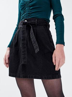 Jupe evasee ceinturee en jean noir femme