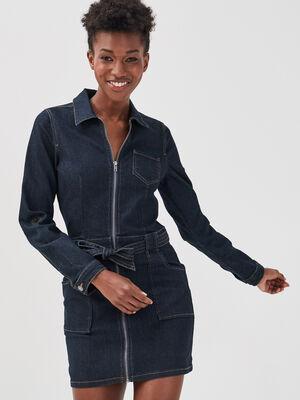 Robe droite ceinturee en jean denim baby bleu femme