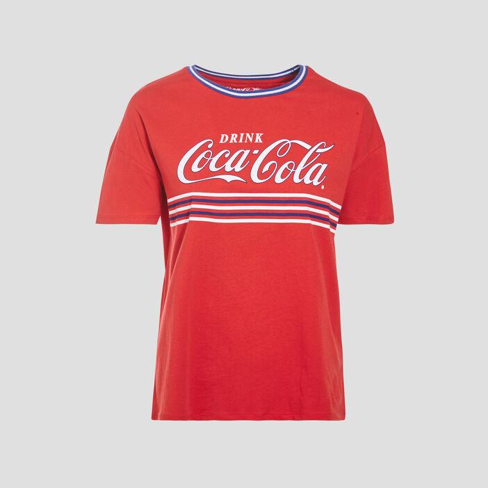 T-shirt Coca-Cola rouge fluo femme
