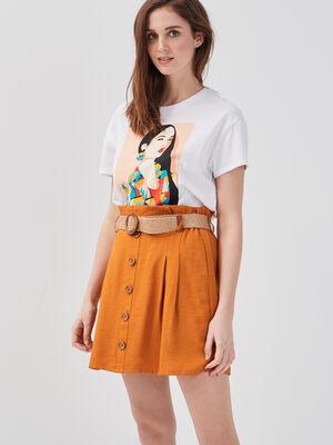 Jupe evasee ceinturee orange clair femme