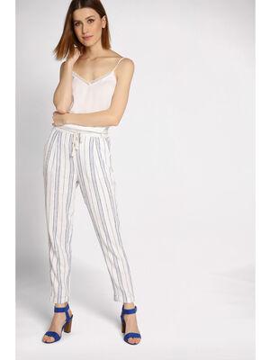 Pantalon droit ceinture blanc femme