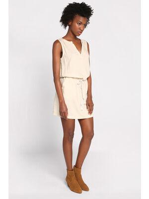 Robe courte droite ceinture sable femme
