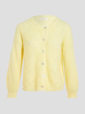 Gilet boutonne ajoure jaune pastel femme