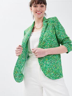 Veste blazer droite fluide vert femme