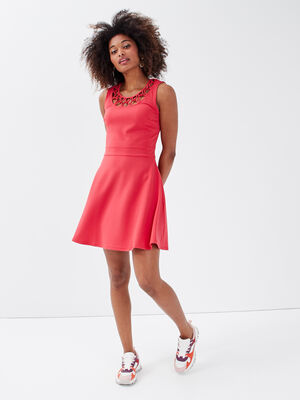 Robe evasee sans manches rouge fonce femme