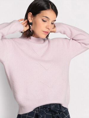 Pull manches longues violet clair femme
