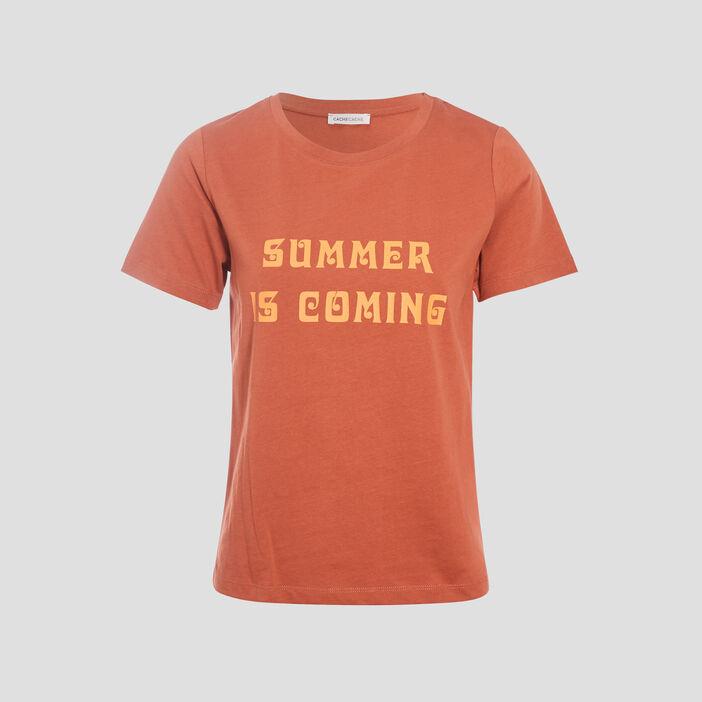T-shirt manches courtes marron cognac femme