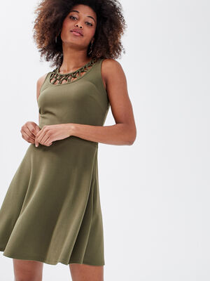 Robe evasee sans manches vert kaki femme