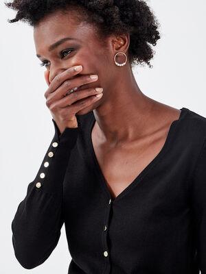Gilet boutonne noir femme