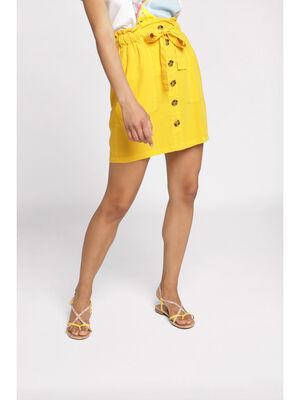 Jupe paperbag taille standard jaune moutarde femme
