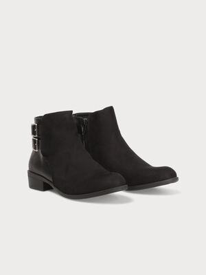 Boots a talons zippees avec brides noir femme