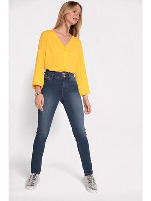 Jeans slim taille haute delave denim stone femme