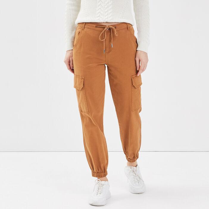 Pantalon cargo lien à coulisse beige femme