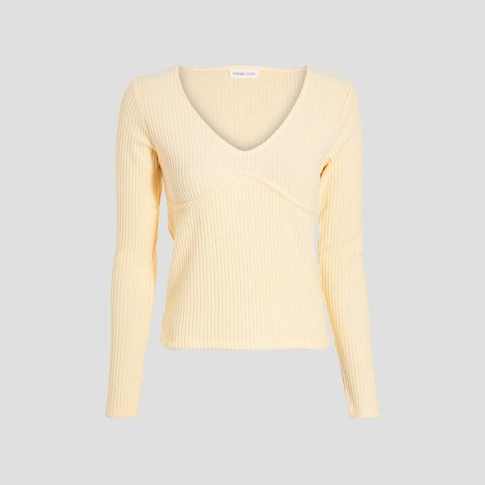 T-shirt manches longues jaune clair femme