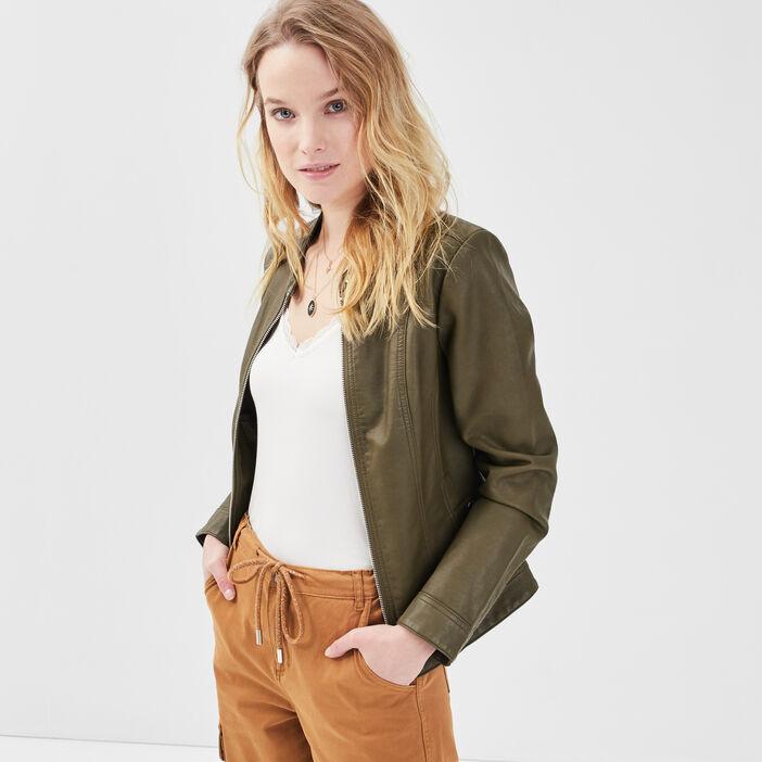 Veste droite zippée vert kaki femme