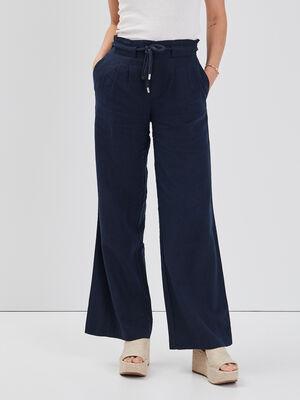 Pantalon fluide lin bleu marine femme