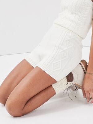 Short ajuste tricote ecru femme
