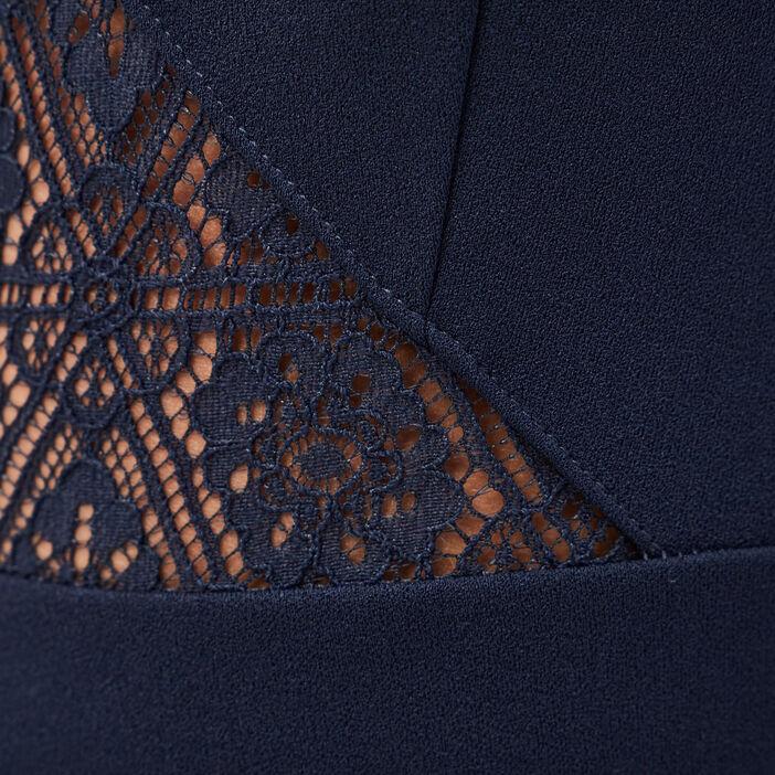 Robe évasée avec bretelles bleu marine femme