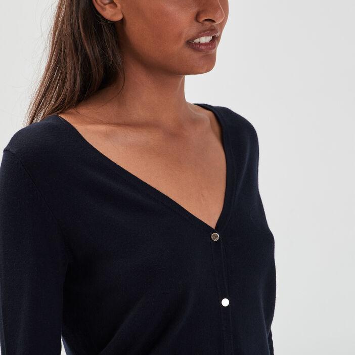 Gilet manches longues boutonné bleu marine femme