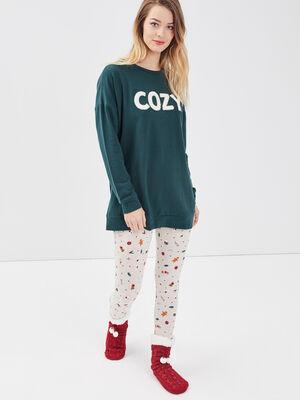 Ensemble pyjama vert fonce femme