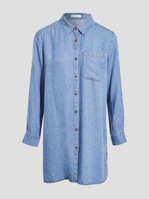 Chemise longue en jean denim stone femme