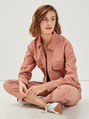 Veste droite avec rabats rose poudree femme