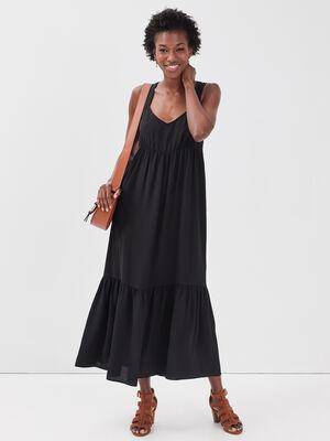 Robe longue evasee bretelles noir femme