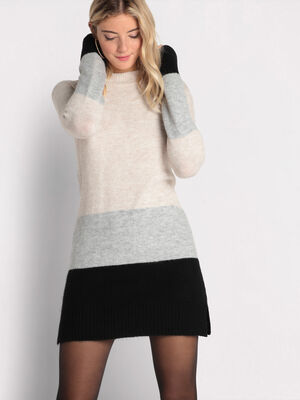 Robe tricot col montant ecru femme