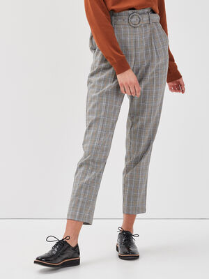 Pantalon city ceinture blanc femme