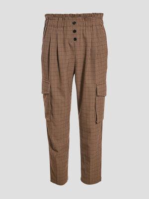 Pantalon droit poches cotes ecru femme