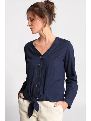 Chemise manches longues nouee bleu marine femme