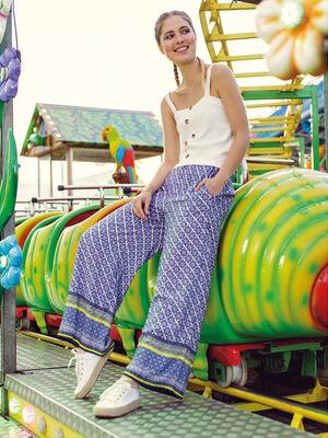 Pantalon large taille smockee bleu femme