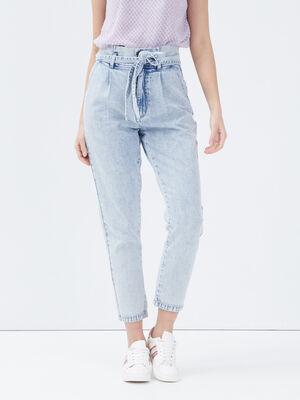Jeans paperbag ceinture denim bleach femme
