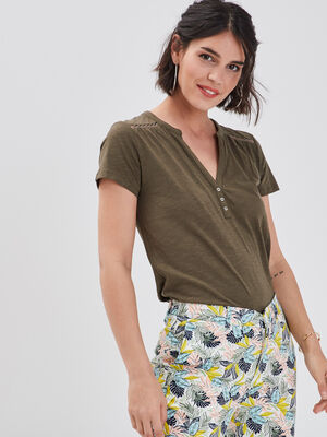 T shirt manches courtes ajoure vert kaki femme