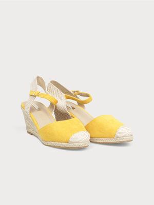 Espadrilles compensees jaune femme
