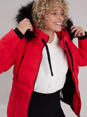 Doudoune droite a capuche rouge femme