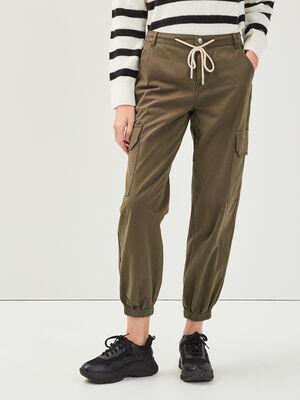 Pantalon cargo lien a coulisse vert kaki femme