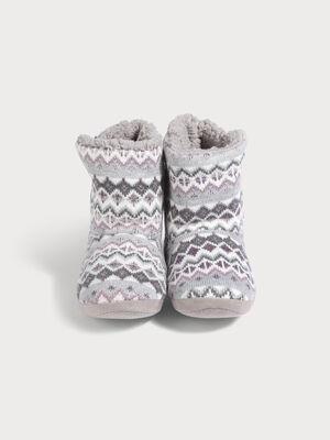 Chaussons bottines gris fonce femme