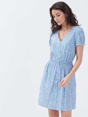 Robe evasee smockee bleu pastel femme