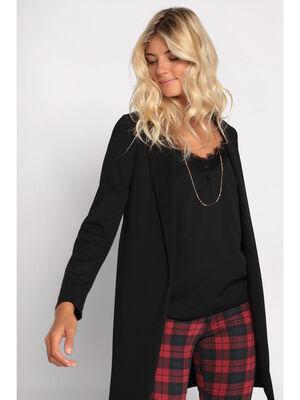 Veste droite col chale noir femme