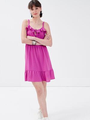 Robe droite avec volants rose fushia femme